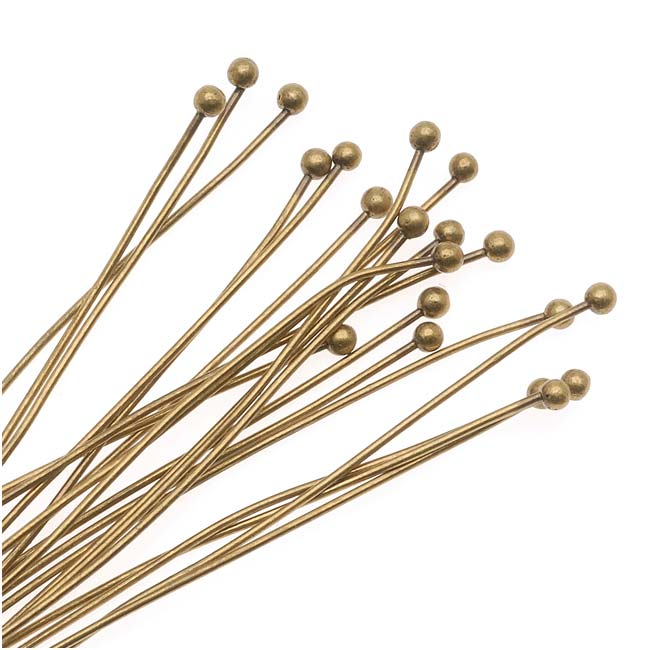 Antiqued Brass 2mm Ball Head Pins - 22 Gauge Thick 2 Inches Long (20)