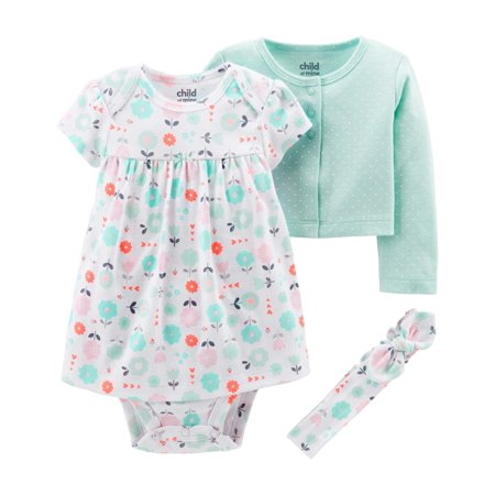 Child of Mine by Carter's Long Sleeve Cardigan, Dress & Headband, 3pc Outfit Set (Baby - Children Clothing Boutique