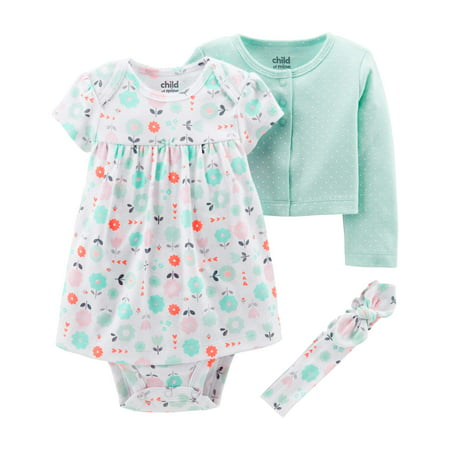 Nike Kids Girls Sets - Child of Mine by Carter's Long Sleeve Cardigan, Dress & Headband, 3pc Outfit Set (Baby Girls)