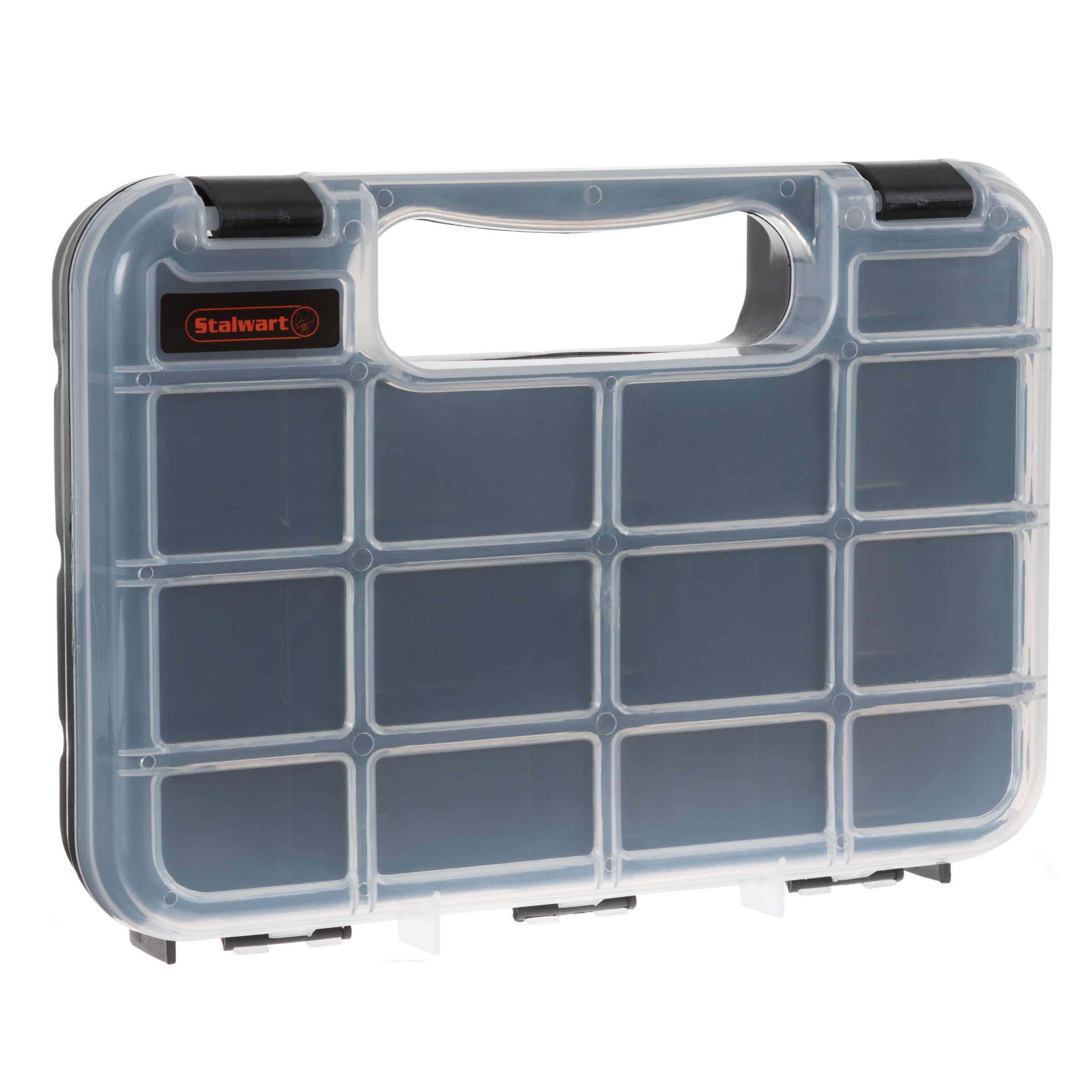 Portable Storage Case with Secure Locks and 14 Small Bin Compartments for Hardware, Screws, Bolts, Nuts, Nails, Beads, Jewelry and More by Stalwart