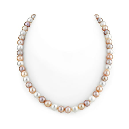 14K Gold 7-8mm AAAA Quality Multicolor Freshwater Cultured Pearl Necklace for Women in 17 Princess Length