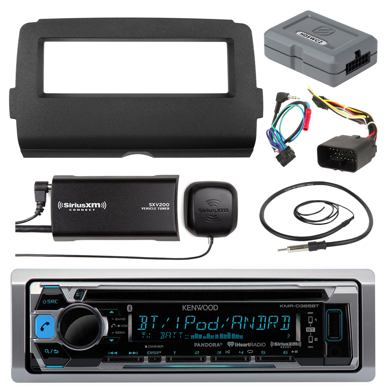 """Audio Bundle For 2014 and Up Harley -Kenwood KMRD372BT Marine CD Bluetooth Stereo Receiver Combo W/ Dash Install Kit and Handle Bar Control for Motorcycles, SiriusXM Tuner, Enrock 22"""" AM/FM Antenna"""
