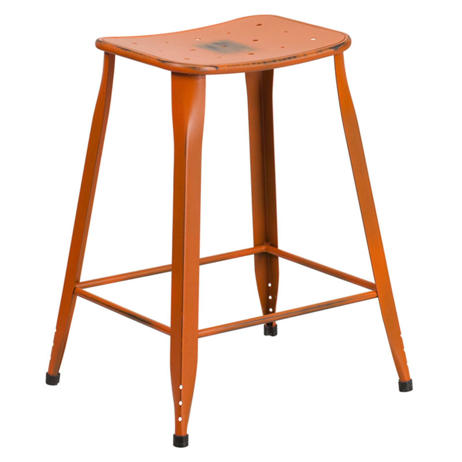 Flash Furniture 24 in. High Distressed Metal Indoor/Outdoor Counter Stool
