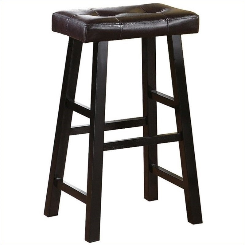 "Poundex Country 29"" Bar Stool in Espresso (Set of 2)"