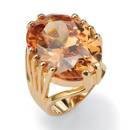 24.02 TCW Oval Cut Champagne-Color Cubic Zirconia 14k Yellow Gold-Plated (Oval Cut Cubic Zirconia Ring)