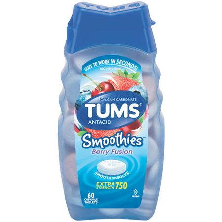 Nitro Fusion Berry - (2 Pack) Tums smoothies berry fusion extra strength antacid chewable tablets for heartburn relief, 60 tablets
