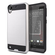 FINCIBO Brushed Card Hybrid Case Slim Hard Layer Armor Cover for HTC Desire 530 630, Silver/Black