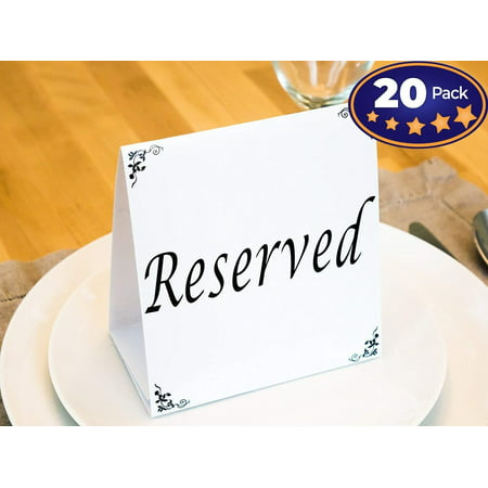 Big Reserved Table Tent Cards, 20 Pack. Great for Reserving Seats & Places at Events Like Wedding Receptions, Banquets & Parties. Highly Visible, Double-Sided Design Sets Up Quickly & Stays - Table Numbers For Wedding Reception