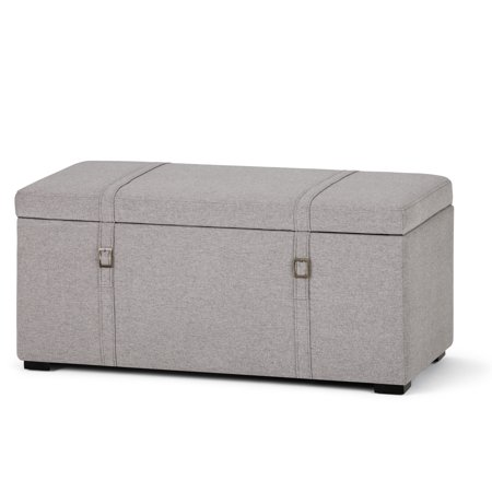 Brooklyn + Max Chadwick 41 inch Wide Transitional Storage Ottoman in Cloud Grey Linen Look (41 Country Grey Part)