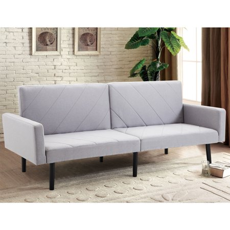 Costway Futon Sofa Bed Convertible Recliner Couch Splitback Sleeper w/Wood Legs Gray