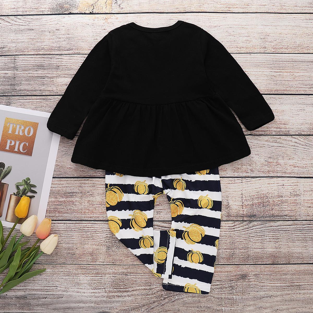 Asian size 2PCS Suit 2018 Autumn Baby New Cotton Halloween Pumpkin Print  Clothes Sets Girls Long Sleeve Costume