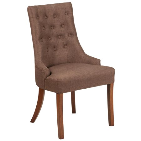 Brown Fabric Tufted Chair with Curved Mahogany Legs