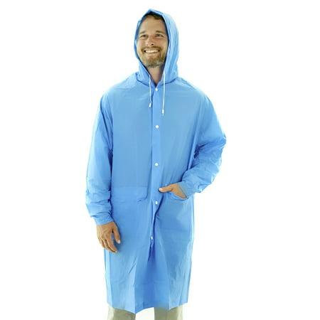 Adult Portable Lightweight PVC Long Size Hooded Raincoat, Reusable Rainwear, with Pockets - Long Raincoat