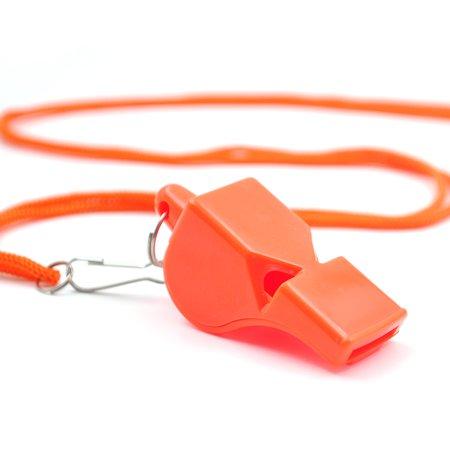 GOGO 100 Pcs Whistles with Lanyard Plastic Pea-Less Safety Sporting Whistle Bulk Sale Party Favors-Orange](Buy Whistles In Bulk)