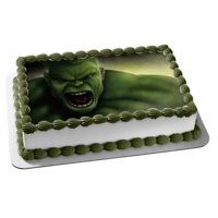The Incredible Hulk Angry Bruce Banner Face Edible Cake Topper Image