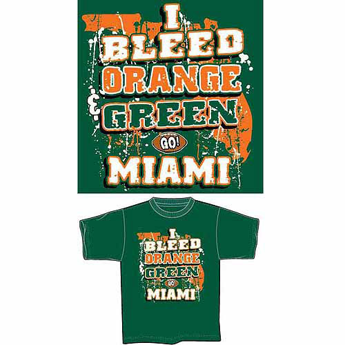"University of Miami Football ""I Bleed Orange and Green, Go Miami"" T-Shirt, Green"