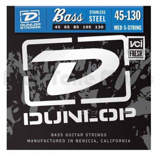 Dunlop DBN45130 Nickel Medium 5 String Stainless Steel Bass Guitar Strings .45-.130 by Dunlop