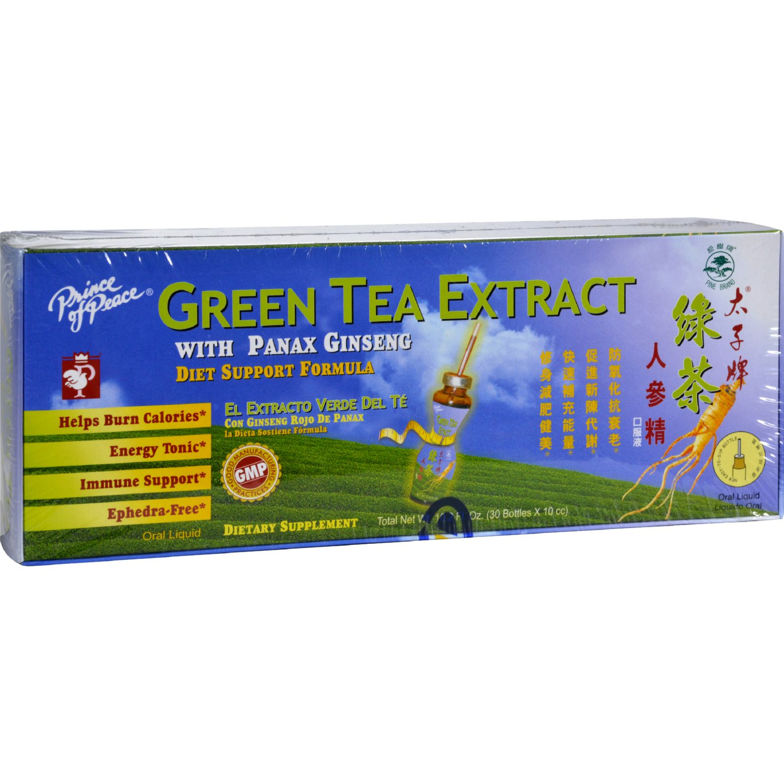 Prince of Peace Green Tea Extract with Panax Ginseng - 10.2 fl oz