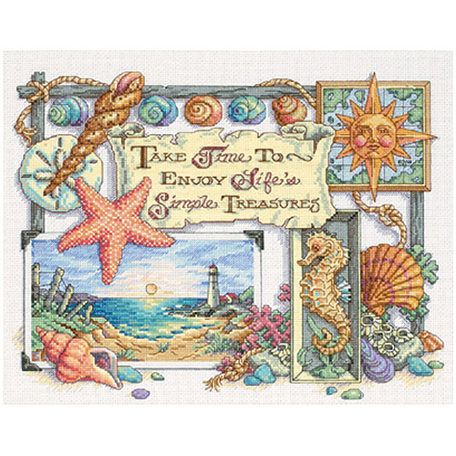 "Dimensions ""Simple Treasures"" Counted Cross Stitch Kit, 14"" x 11"""