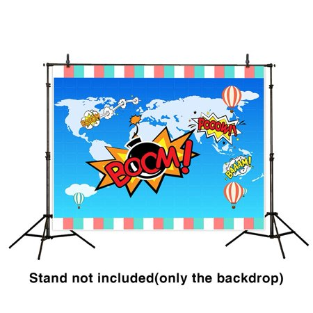 HelloDecor Polyster 7x5ft new superhero photo backdrop for girl and boy birthday party photography map background - Mlp Background