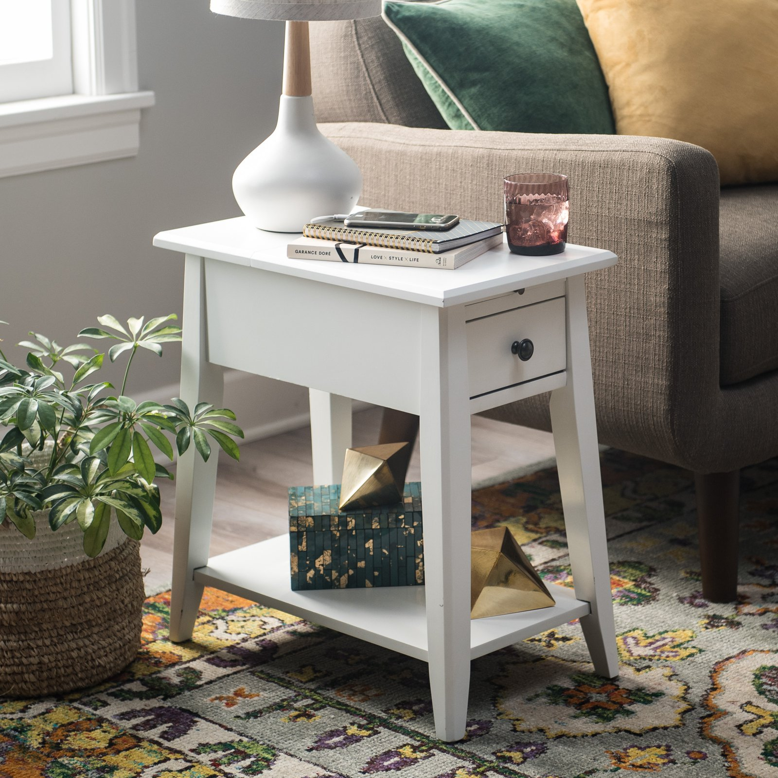 Finley Home Davis Chairside Table with Power Outlet - White