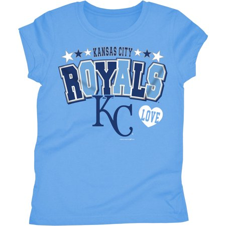 MLB Kansas City Royals Girls Short Sleeve Team Color Graphic Tee