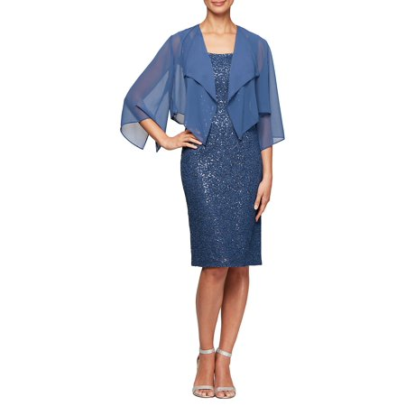 Sequin 2-Piece Jacket Dress Set (Alex Evenings Sequin Lace Bolero Jacket Dress)