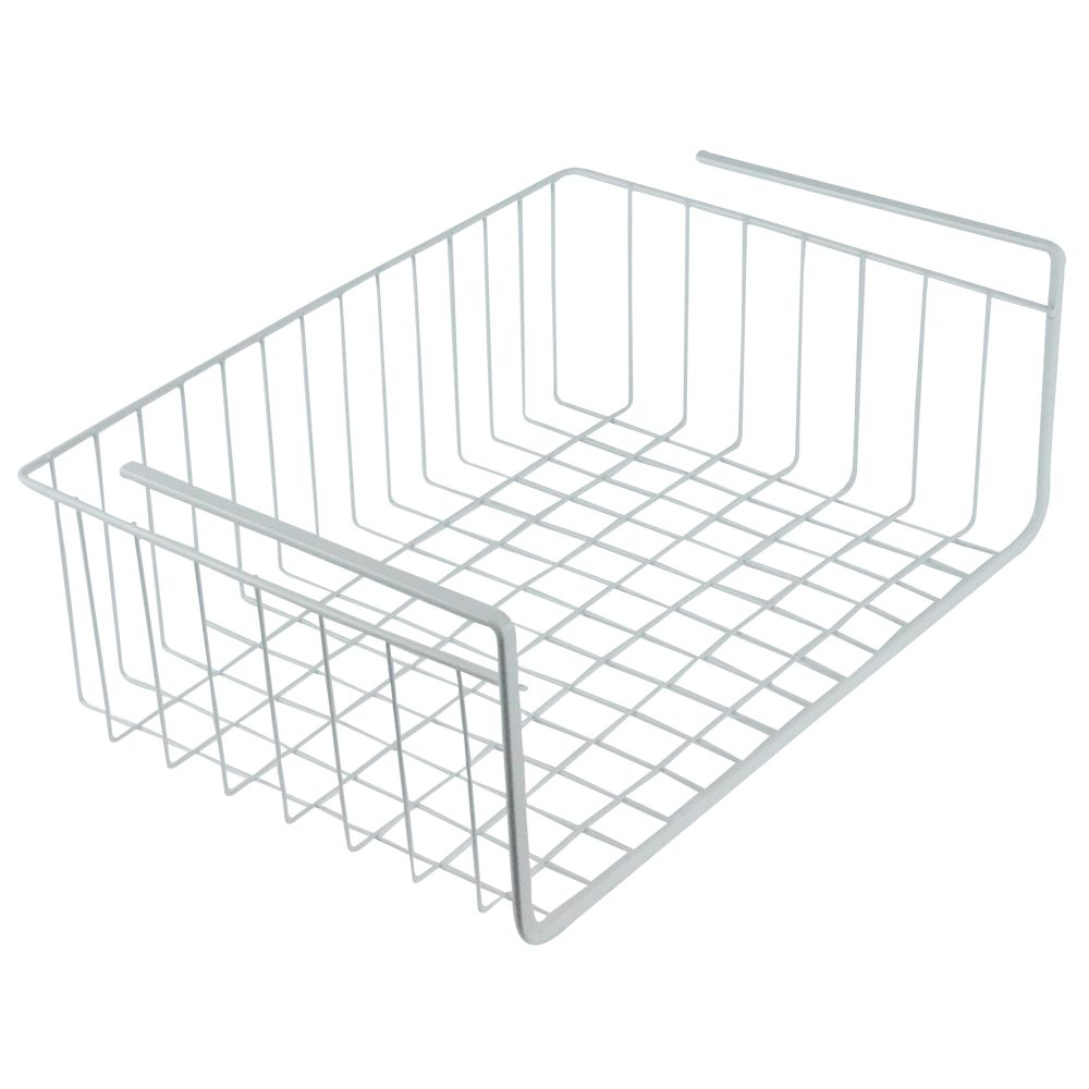 Southern Homewares White Wire Under Shelf Storage Organization Basket, 15""