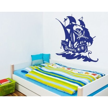 Bounty Pirate Ship II Wall Decal - wall decal, sticker, mural vinyl art home decor - 3737 - White, 16in x (Ship Mural)