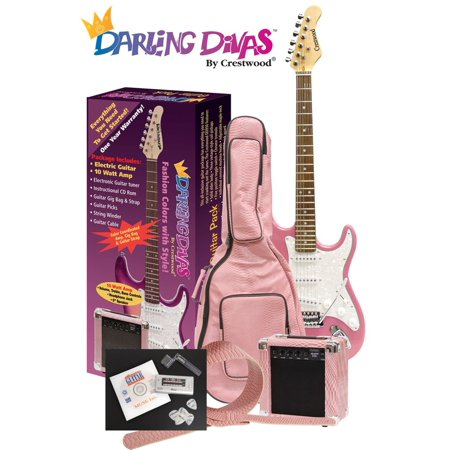Electric Guitar Pack Featuring Guitar Strap, Guitar Amp, Guitar Tuner, Gig Bag, Guitar Picks, String Winder, Guitar Cable, Single Coil Pickup and More, Darling Divas by Crestwood (Best Pickups For 12 String Electric Guitar)
