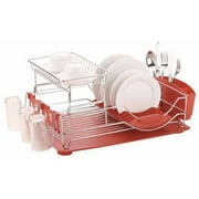 Home Basics Dish Drainer Deluxe, Red