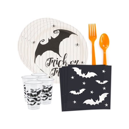 Halloween Trick or Treat Bat Standard Tableware Kit (Serves 8) - Halloween Trick Or Treat Pics