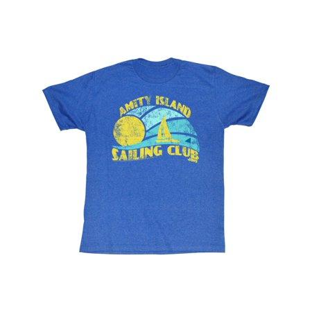 Jaws Amity Island Sailing Club Sun Ocean Sailboat Shark Fin Blue Adult T-Shirt