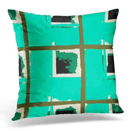 CMFUN Abstract Kilt Grunge with Hand Crossing Brush Strokes for Swimwear Upholstery Rustic Check Plaid Scottish Throw Pillow Case Pillow Cover Sofa Home Decor 16x16 Inches