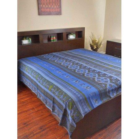 Handmade 100% Cotton Kalamkari Bedspread Coverlet Bed Sheet Throw Tapestry Tablecloth (Full 88x106, Blue)