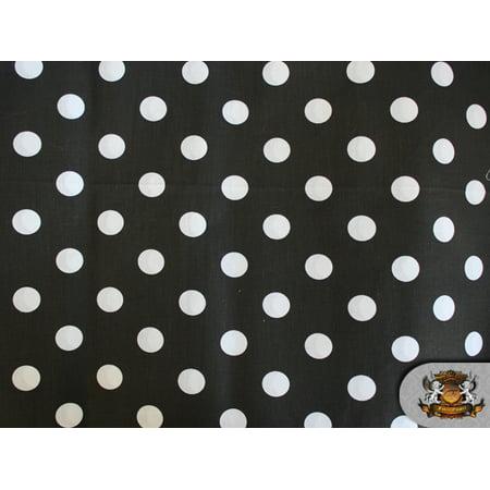 Polycotton Printed POLKA DOTS WHITE BLACK BACKGROUND Fabric / 60
