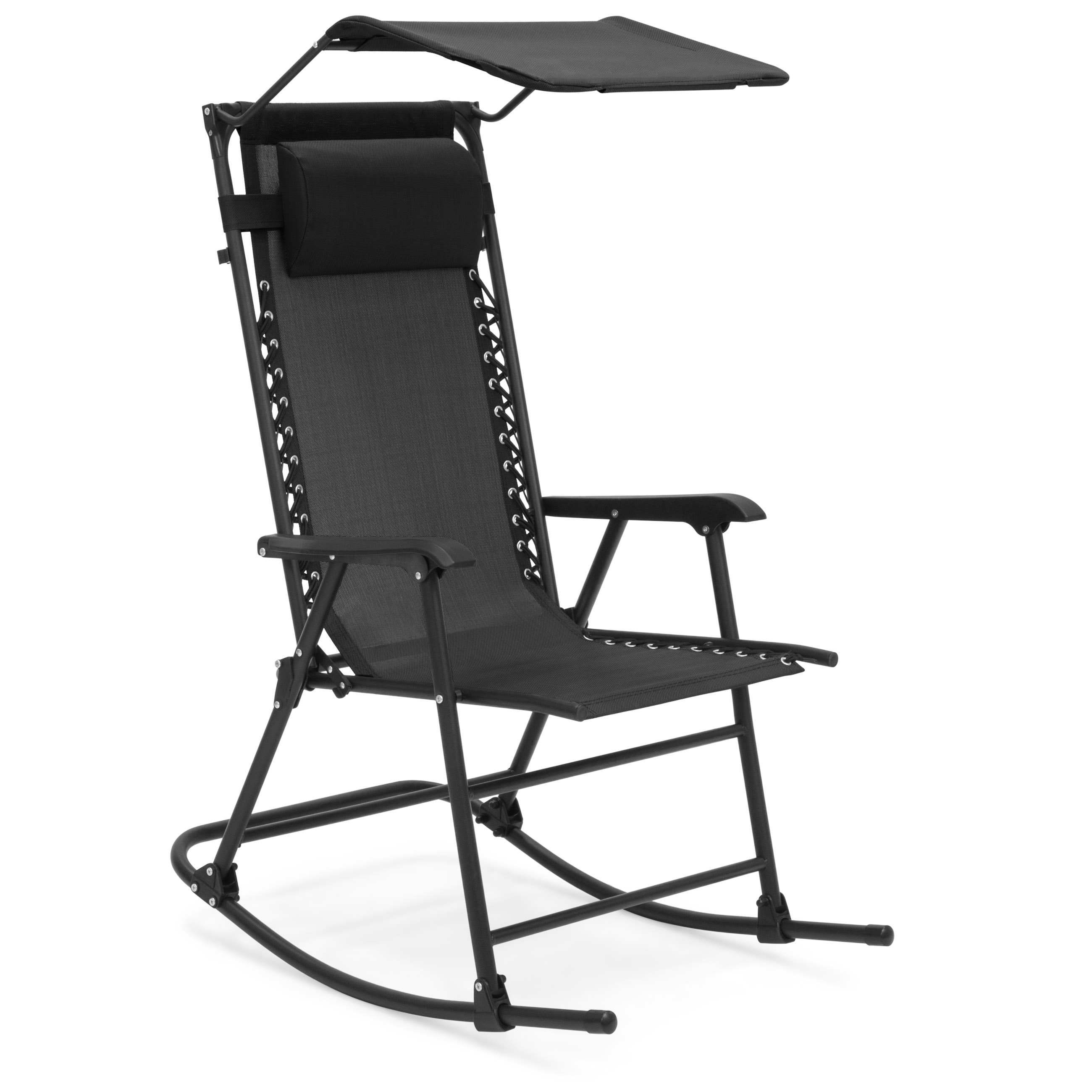 Best Choice Products Foldable Zero Gravity Rocking Patio Chair w/ Sunshade Canopy - Black