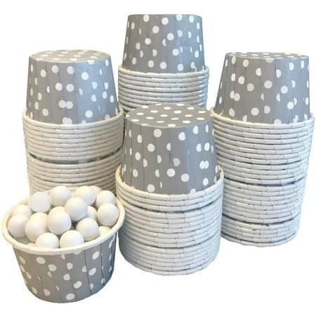 Bulk Pk 100 Silver White Polka Dot Candy/Nut Mini Baking Cups](Paper Nut Cups)