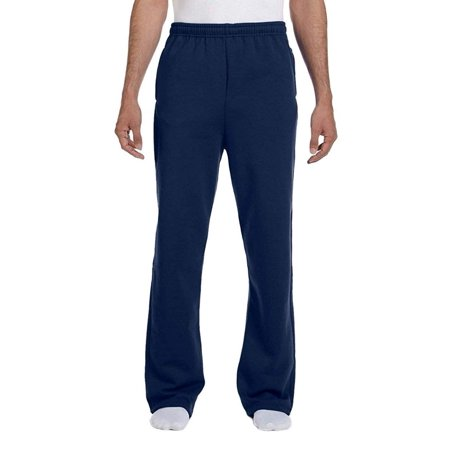 Dri-Power Poly Pocketed Open-Bottom Sweatpants, Large - J. Navy, 100% Cotton By Jerzees