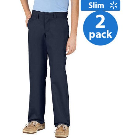 Dickies Boys Slim Fit Cell Phone Pocket Pants, 2 Pack ()