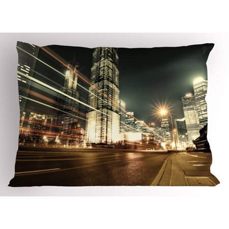 Bronze King Sham (City Pillow Sham Shanghai Lujiazui Finance and Trade Zone of the Modern City Nighttime View, Decorative Standard King Size Printed Pillowcase, 36 X 20 Inches, Bronze Black White, by Ambesonne)