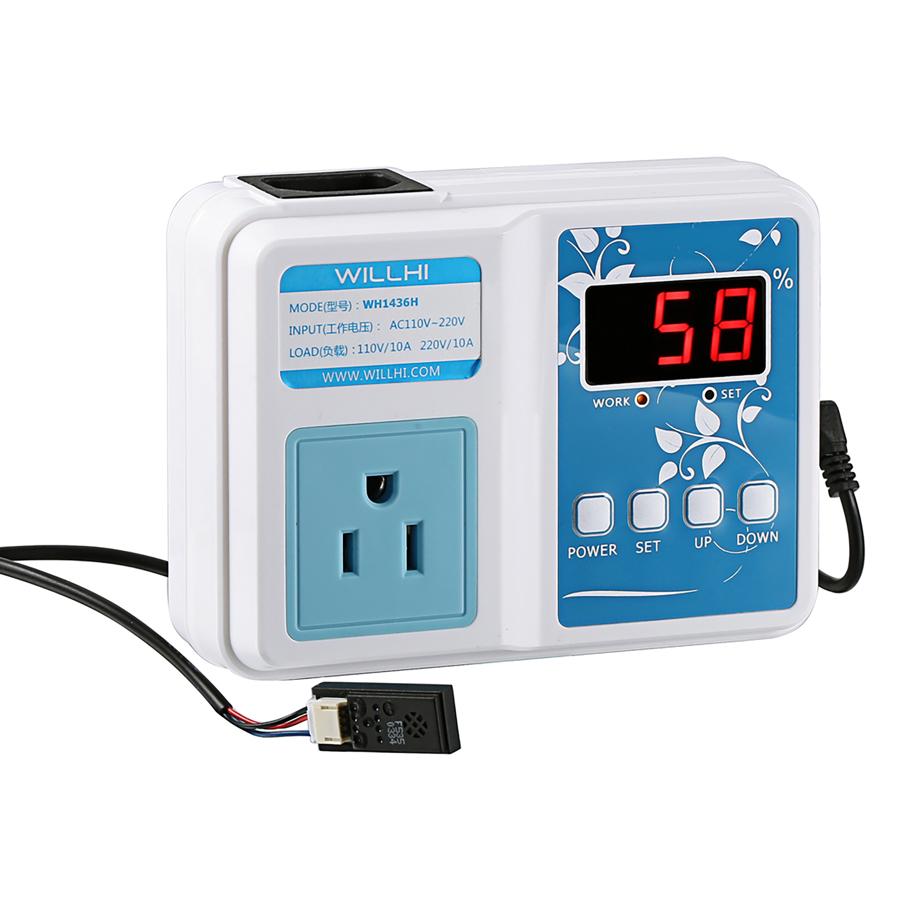 WILLHI WH1436H Air Humidity Controller Pre-Wired Outlet with Sensor ...
