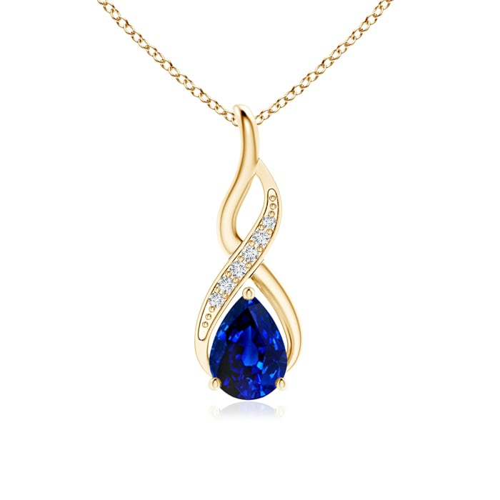 Angara Pear Shaped Blue Sapphire Drop Necklace in Yellow Gold lAnJW