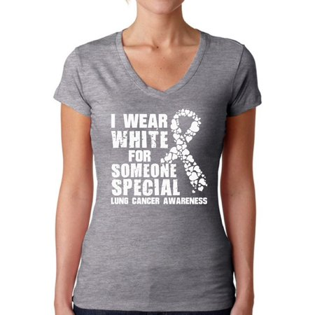 Awkward Styles Women's I Wear White for Someone Special V-neck T-shirt Lung Cancer Awareness - Lung Cancer Awareness Color