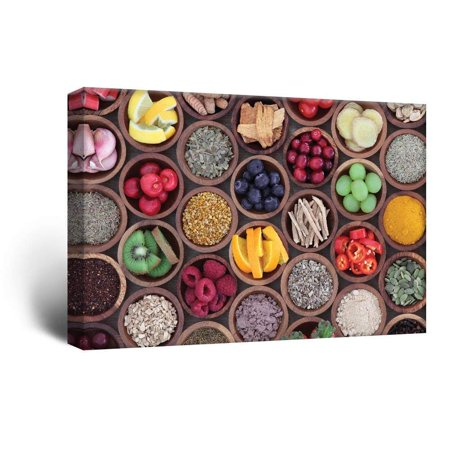 wall26 Canvas Wall Art - Colorful Fruits and Seasonings in Bamboo Bowls - Giclee Print Gallery Wrap Modern Home Decor Ready to Hang - 12x18 inches