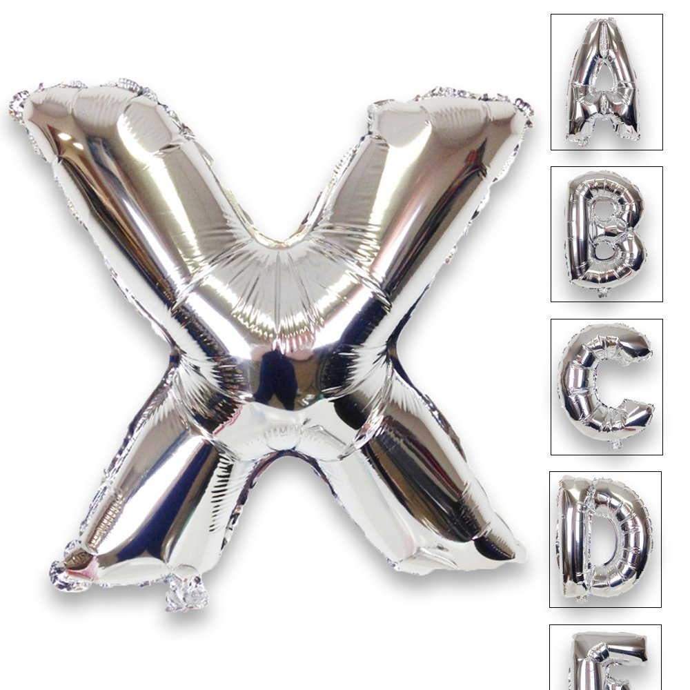 Just Artifacts Shiny Silver (30-inch) Decorative Floating Foil Mylar Balloons - Letter: X - Letter and Number Balloons for any Name or Number Combination!