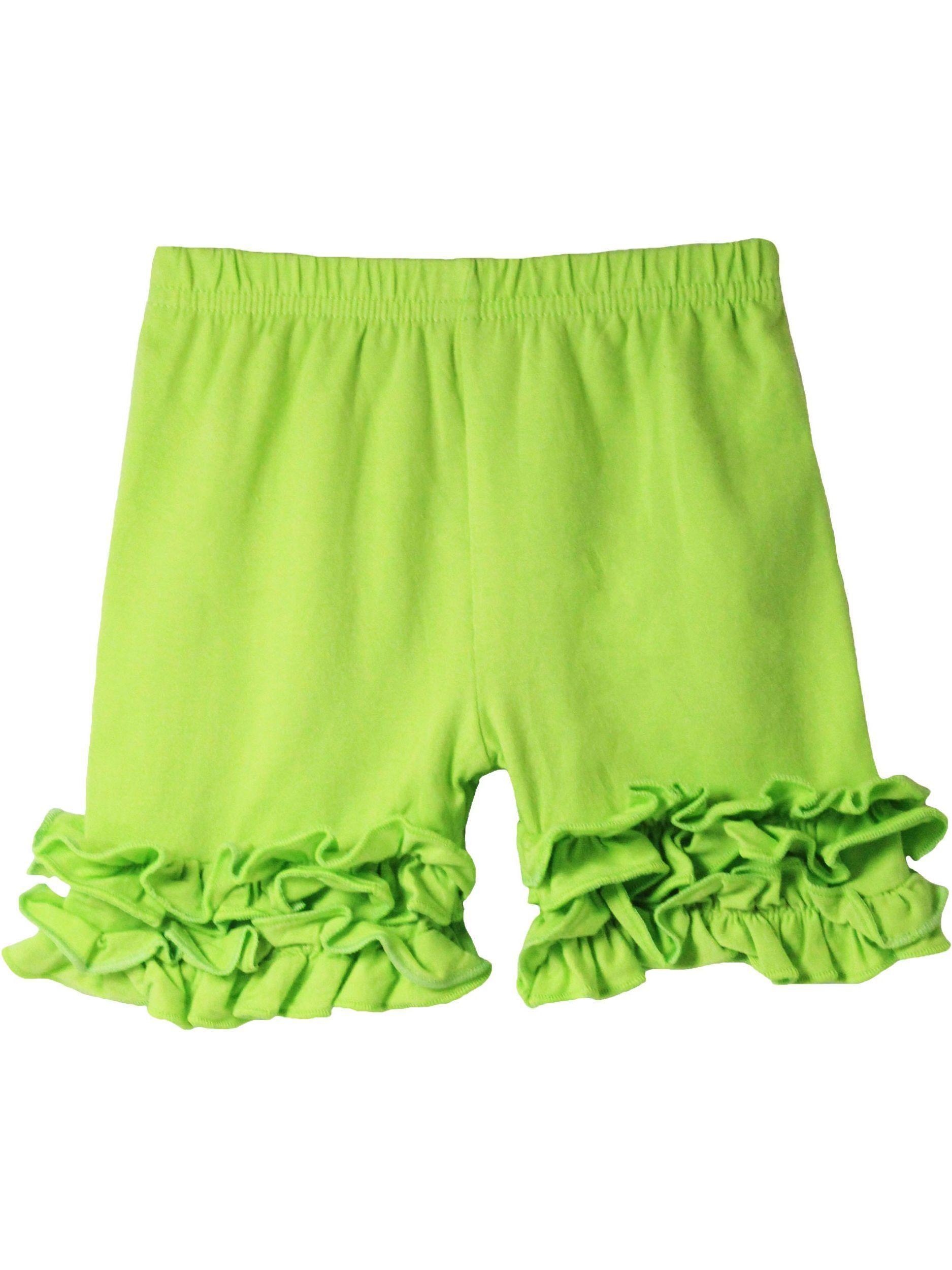 Girls Lime Green Elastic Waist Ruffle Bottom Icing Boutique Shorts