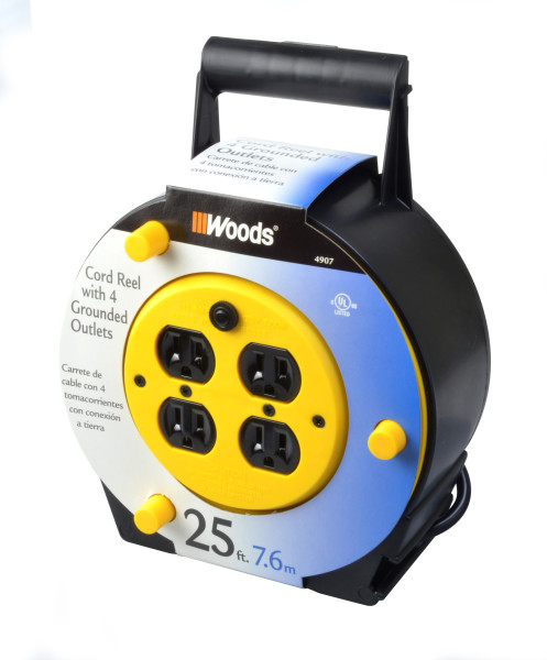 woods extension cord reel with 4 outlets 16 3 sjtw and 12a circuit breaker 25 foot rh walmart com