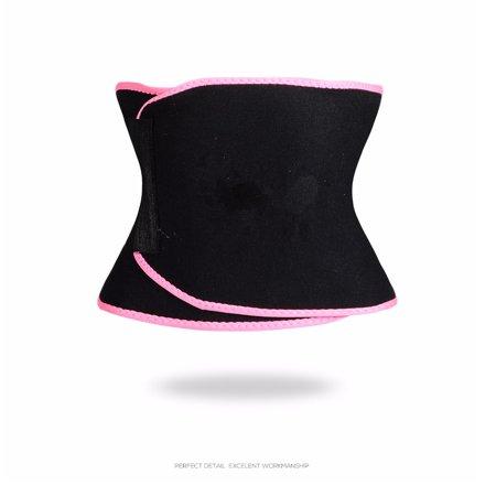 Sports Fitness Compression Body Shaper Sweat Waist Trainer Trimmer Belt for Men Women Color:Pink Size:XL - image 5 de 6