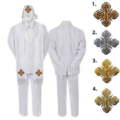 5-7pc White Baby Kid Boy Christening Satin Formal Tuxedo Suits Cross Hat Stole ()